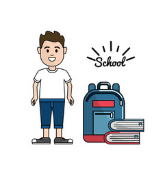 Student with his backpack and books tools vector