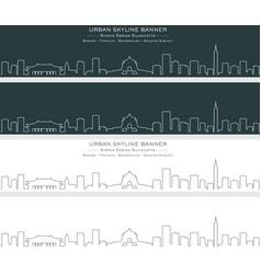 Taipei single line skyline banner vector
