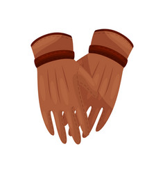 Thin stylish gloves brown on vector