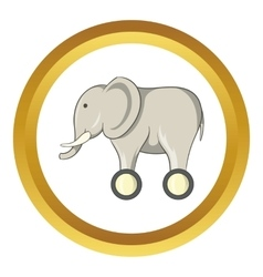 Toy elephant on wheels icon vector
