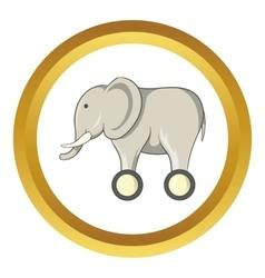 Toy elephant on wheels icon vector