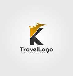 Travel agent logo design with initials k letter vector