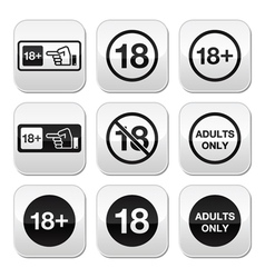 Under 18 adults only warning sign buttons vector image