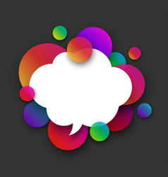 White speech cloud with colour bubbles on grey vector