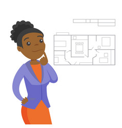 Woman thinking about blueprint of new apartment vector
