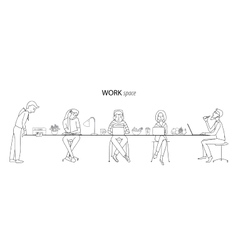 Work space thin line concept vector image