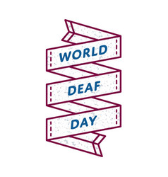 World deaf day greeting emblem vector