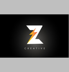 Z letter logo design with lighting thunder bolt vector