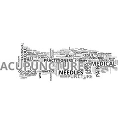 a quick start guide to acupuncture text word vector image vector image