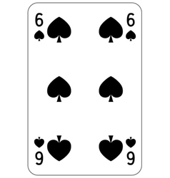 Poker playing card 6 spade vector image