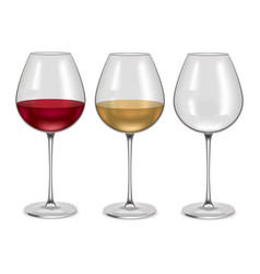 realistic glass empty and with wine set vector image vector image