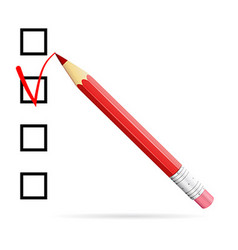 Red pencil drawing check mark in check box vector image vector image
