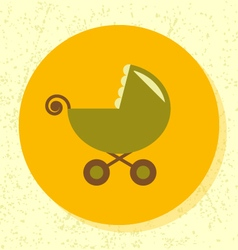 round icon green stroller symbol baby toy vector image vector image