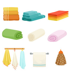 white and colored soft bathe or kitchen towels vector image