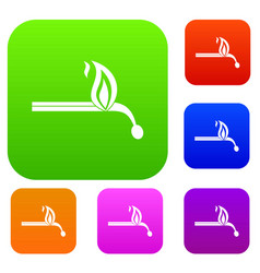 burning match set color collection vector image