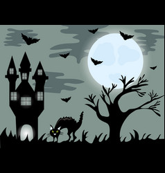 halloween night background with creepy house and vector image