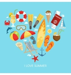 Heart Summer Composition vector image vector image