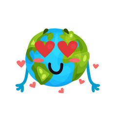 cute cartoon funny earth planet emoji in love vector image