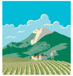 Farmer And His Field vector image vector image