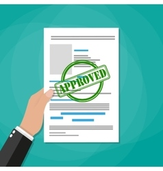 Hand holds approved paper document vector image