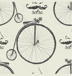 ink hand drawn retro bicycles seamless pattern vector image