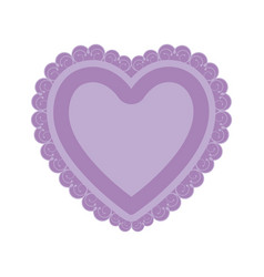 lilac color heart shape with decorative frame vector image