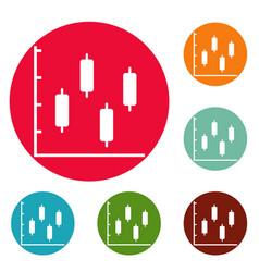 new diagram icons circle set vector image