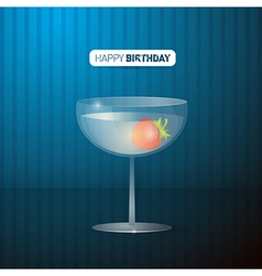 Retro Blue Happy Birthday Background With Drink vector image