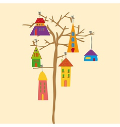 Tree little town vector image
