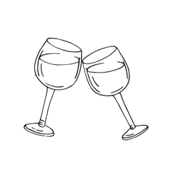 Two glasses of wine vector image vector image