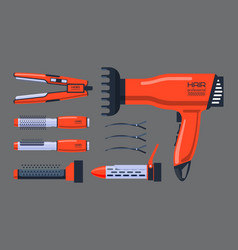 barber salon professional set with tools equipment vector image vector image