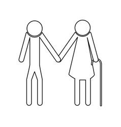 elder people stick black color path icon vector image vector image