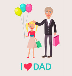 father and blonde daughter celebrate dad s day vector image vector image