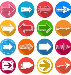 Set of flat arrow icons with long shadow vector image