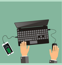 top view hands and laptop with connected vector image