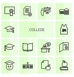 14 college icons vector image