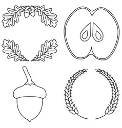 4 line art black and white harvest elements vector image