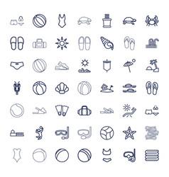 49 beach icons vector
