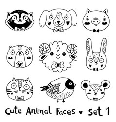 avatars funny animal faces raccoon dog pig bear vector image