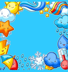 background with cute kawaii weather items funny vector image