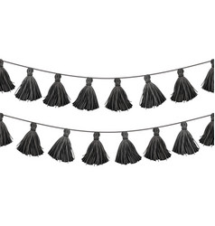 black double hanging decorative tassels vector image