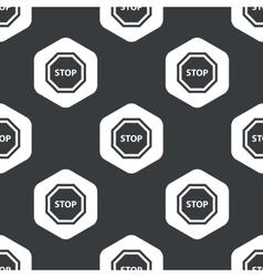 Black hexagon STOP sign pattern vector