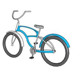 Blue bike on white background vector