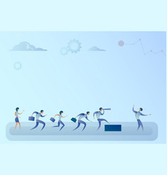business people team looking with binocular on vector image