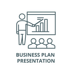 business plan presentation line icon vector image