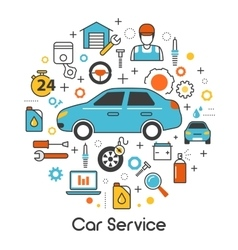 Car auto maintenance service line thin icons set vector