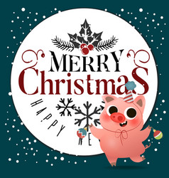 cartoon cute piggy with xmas tree toys greeting vector image