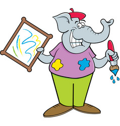 cartoon elephant holding a paintbrush and a painti vector image