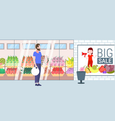 casual man holding purchases shopping bags guy vector image