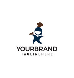 chef women logo design concept template vector image